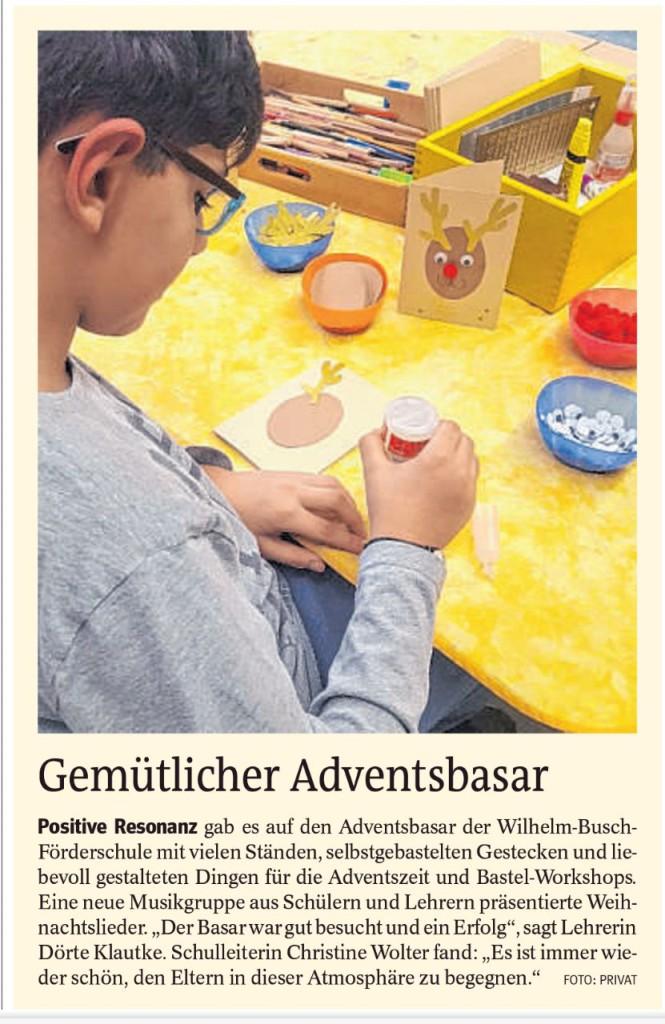 WBS, Homepage, Schj. 17-18, 10 Presse Adventsbasar